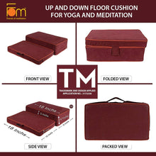 Load image into Gallery viewer, Specifications - Up and Down Floor Cushion for Yoga and Meditation – Maroon