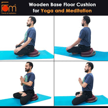 Load image into Gallery viewer, Postures - Wooden Base Floor Cushion for Yoga and Meditation