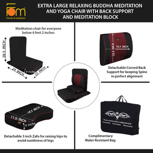 Extra Large Relaxing Buddha Meditation and Yoga Chair with Back-Support and Meditation Block – Black