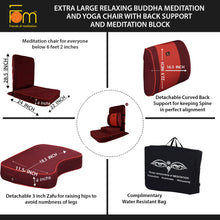 Load image into Gallery viewer, Extra Large Relaxing Buddha Meditation and Yoga Chair with Back-Support and Meditation Block – Maroon