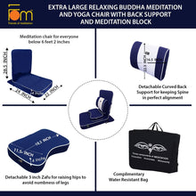 Load image into Gallery viewer, Extra Large Relaxing Buddha Meditation and Yoga Chair with Back-Support and Meditation Block – Navy Blue