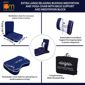 Extra Large Relaxing Buddha Meditation and Yoga Chair with Back-Support and Meditation Block – Navy Blue