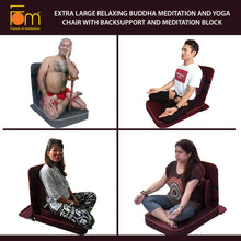 Load image into Gallery viewer, Extra Large Relaxing Buddha Meditation and Yoga Chair with Back-Support and Meditation Block – Postures
