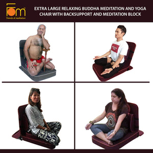 Extra Large Relaxing Buddha Meditation and Yoga Chair with Back-Support and Meditation Block – Postures