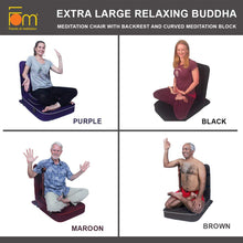 Load image into Gallery viewer, Extra Large Relaxing Buddha Meditation and Yoga Chair with Back-Support and Meditation Block – Colours