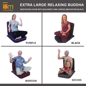 Extra Large Relaxing Buddha Meditation and Yoga Chair with Back-Support and Meditation Block – Colours