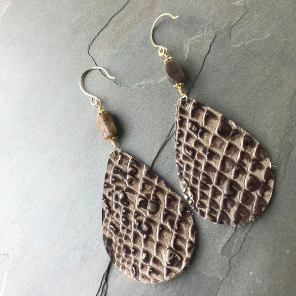 Animal Print Leather Teardrop Earrings Pretty Python 14k gold fill and tan tourmaline beads