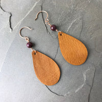 CC04 Caramel crush earrings- handmade gold fill and maroon agate beads