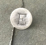 Hand stamped tie tack sterling silver- lapel pin Mens monogram initial custom gift wedding party pebble and ore