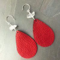 Leather Teardrop Earrings Lipstick Red with crystal quartz