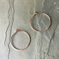 Rose gold and iolite nugget hoop earrings handmade by pebble and ore