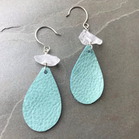 Leather Teardrop Petite Earrings Teal Temptation Quartz TT04