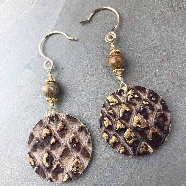 Leather circle drop earrings python leather CC04 with 14k  gold fill and tan agate