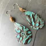 Teal patterned Leather teardrop earrings 14k gold fill and tan agate beads