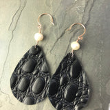 Black Croc-Embossed Leather teardrop earrings with rose gold and pearls