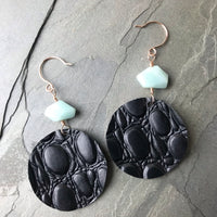 Black crocodile leather circle earrings 14k rose gold and amazonite beads