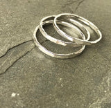 Stacking ring handmade from fine silver skinny stackable ring-size ONE ring