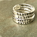 Handmade fine silver ring- ONE stackable silver ring personalized gift for her.
