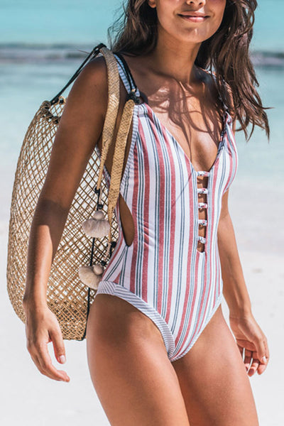 Shedrift Striped Rainbow One-piece Swimsuit
