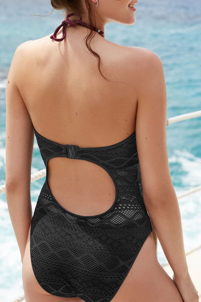 Shedrift Neckhalter Hollowed-out Wine Red One-piece Swimsuit