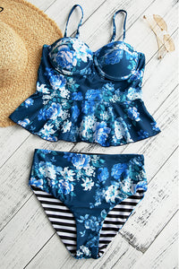 Shedrift Floral Printed Falbala Design Blue Bikini Set