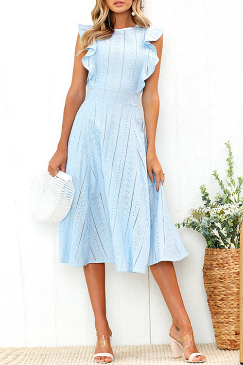 Shedrift Elegant Round Neck Flounce Mid Calf Dress