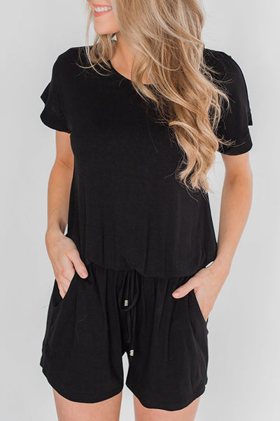 Shedrift Drawstring Loose Black One-piece Romper