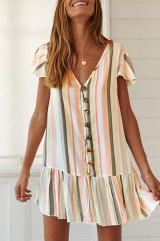 Shedrift Striped Ruffle Design Mini Dress