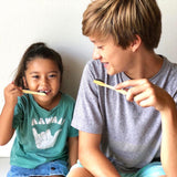 Wahi Bamboo Toothbrush - Kids 2 Pack with Pouch