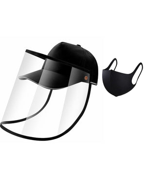 Protective cap with detachable face guard + mask (black)