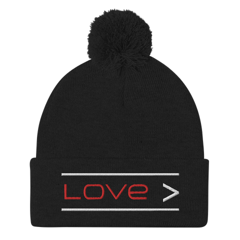 Love is Greater Pom-Pom Beanie