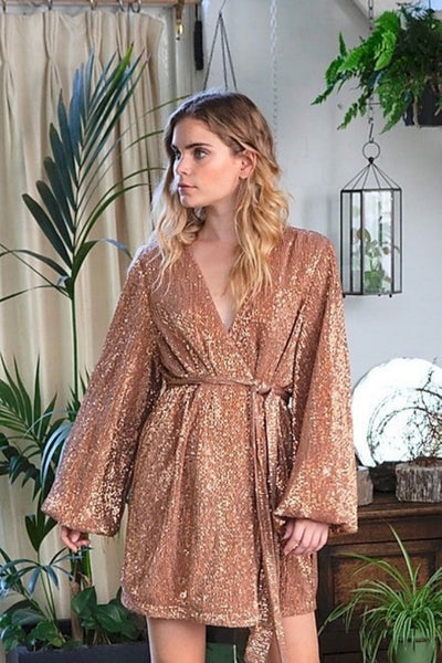THEODORELLA BROWN GOLD SEQUIN DRESS