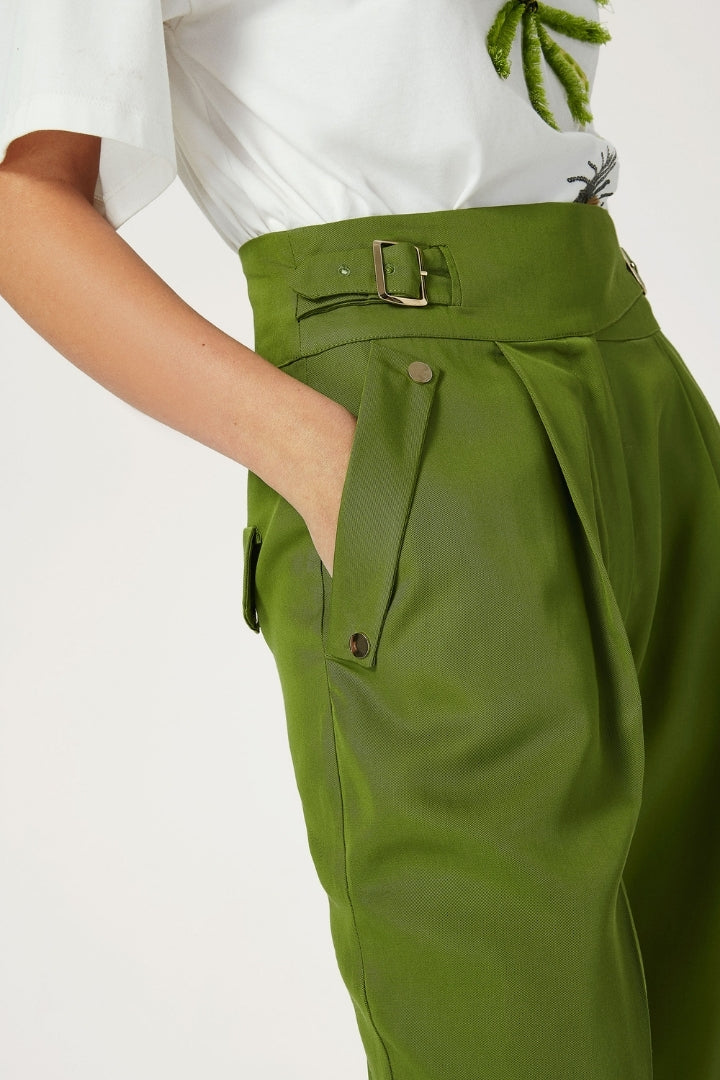 Peg Leg Trousers With Buckle At Sides