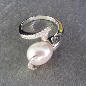 PEARL AND CZ TEARDROP RING