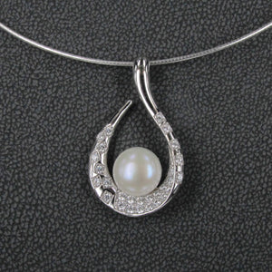 PEARL AND CZ HOOK PENDANT
