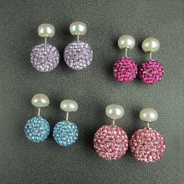 PEARL & 14MM CRYSTAL BACK STUDS