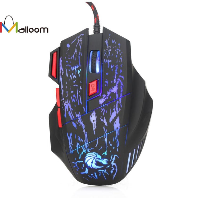 Malloom Professional 7 Buttons 5500 DPI Optical Wired Gaming Mouse - Smuggle Shop LLC.