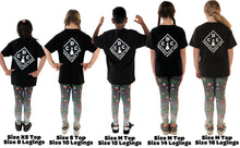 Load image into Gallery viewer, Youth Christmas Leggings | Christmas Decorations Design Black/Grey - Christmas Songs & Carols Love to Sing
