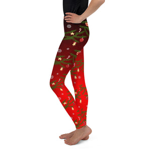 Youth Christmas Leggings | Christmas Decorations Design Red - Christmas Songs & Carols Love to Sing