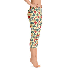 Women's Capri Christmas Leggings - Christmas Tree Design - Christmas Songs & Carols Love to Sing
