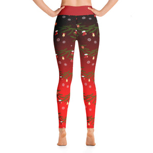 Yoga Christmas Leggings | Christmas Decorations Design Red - Christmas Songs & Carols Love to Sing