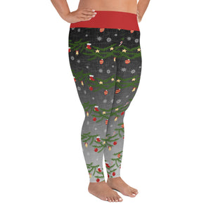 Christmas Leggings | Christmas Decorations Design Black/Grey | Plus Size Leggings - Christmas Songs & Carols Love to Sing