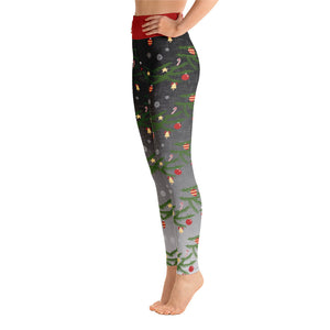 Yoga Christmas Leggings | Christmas Decorations Design Black/Grey - Christmas Songs & Carols Love to Sing