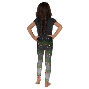 Kids Christmas Leggings | Christmas Decoration Design Black/Grey - Christmas Songs & Carols Love to Sing