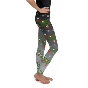 Youth Christmas Leggings | Christmas Decorations Design Black/Grey - Christmas Songs & Carols Love to Sing