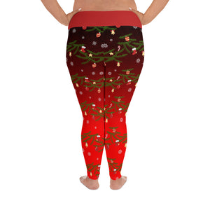Christmas Leggings | Christmas Decorations Design Red | Plus Size Leggings - Christmas Songs & Carols Love to Sing