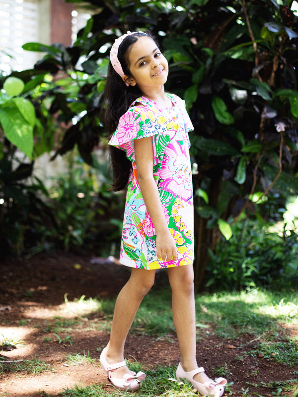 Dana Dress in Neon Floral