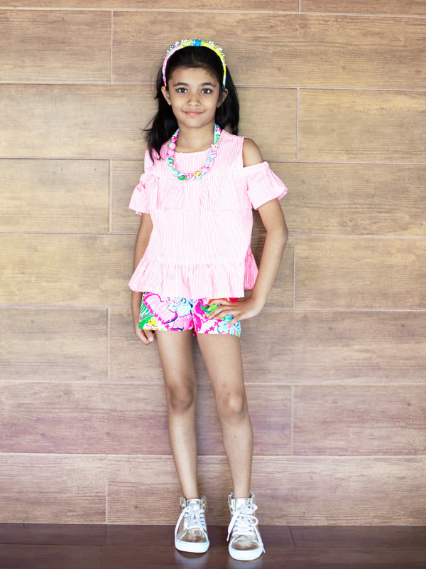Calla Top in Neon Pink Stripe