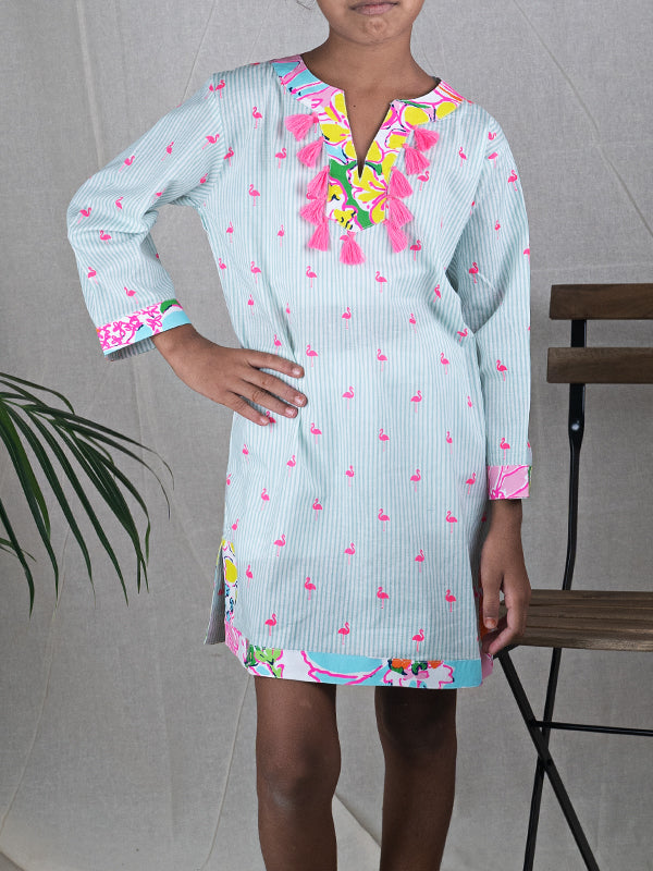 Mari Stripe Flamingo Tunic with neon Tassel Trim