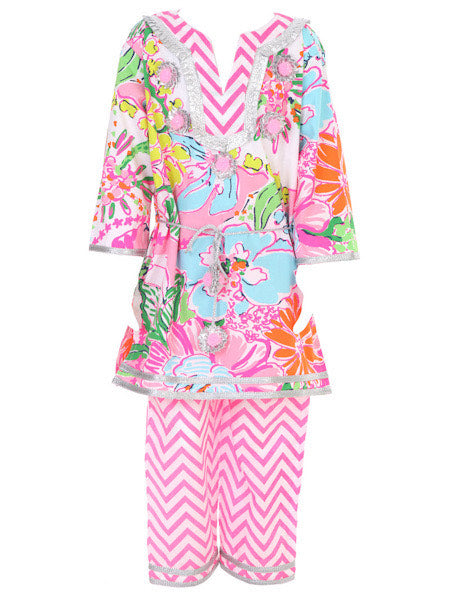 MARI BELTED TUNIC IN NEON FLOWER